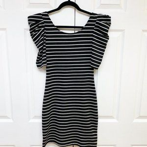 UK2LA Black and White Striped Puff Sleeve T-Shirt Dress with Low Back Size XS/S